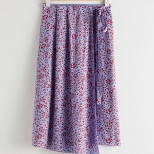 & Other Stories Satin Floral Midi Wrap Skirt